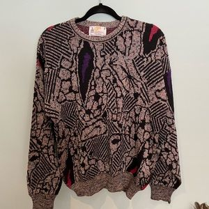 Vintage London Fog Knit Grandpa Sweater, M